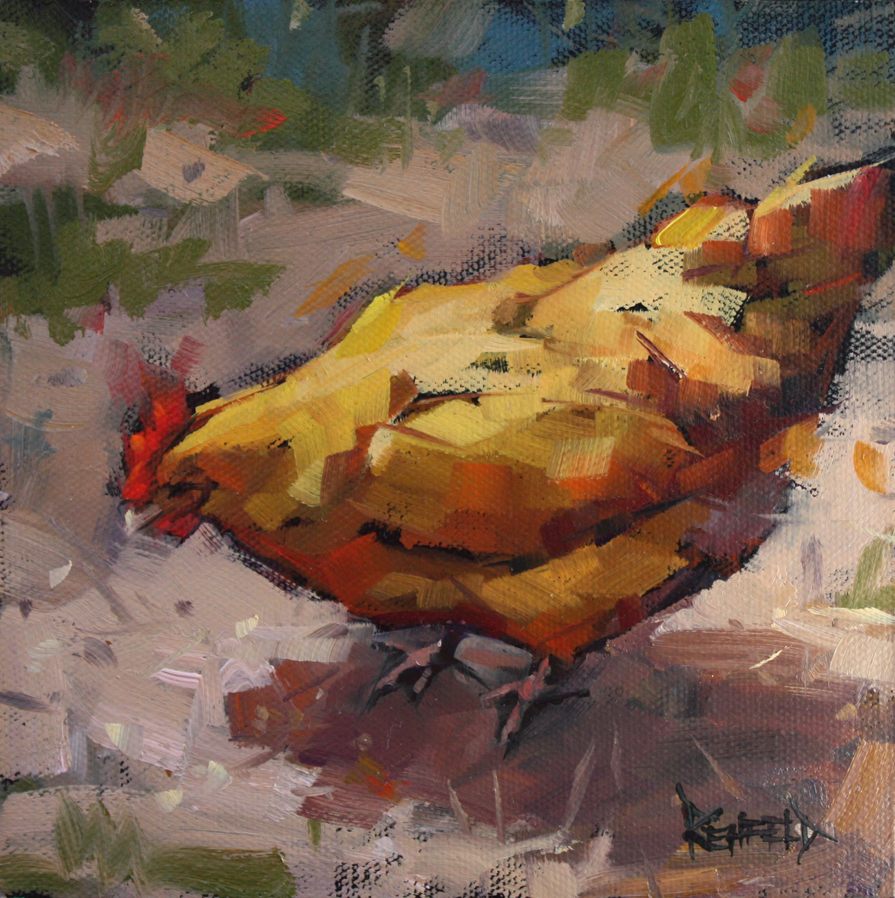 """Contented Chicken"" original fine art by Cathleen Rehfeld"