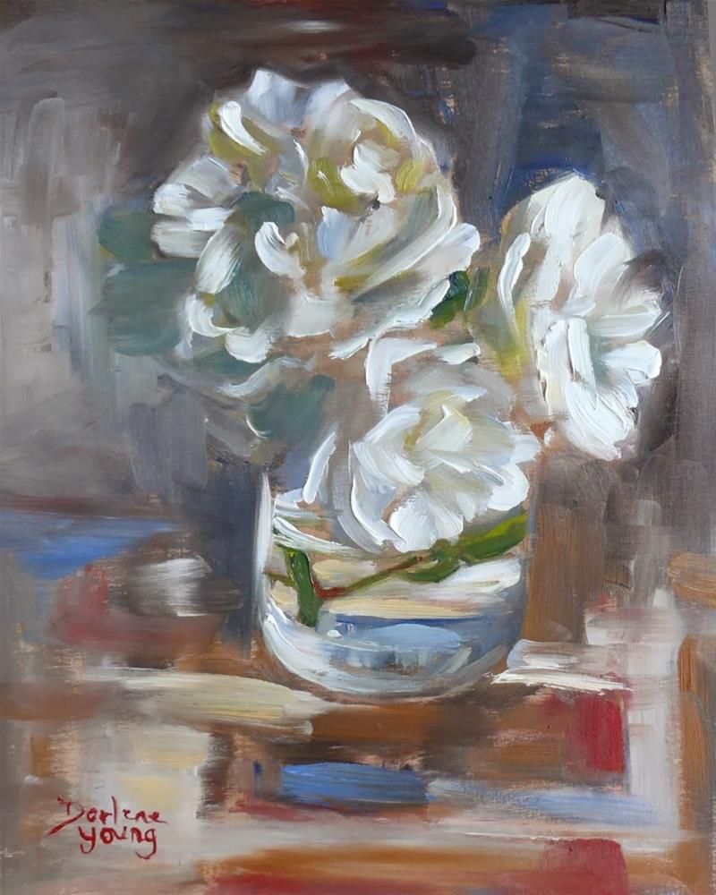 """""""710 White Roses"""" original fine art by Darlene Young"""
