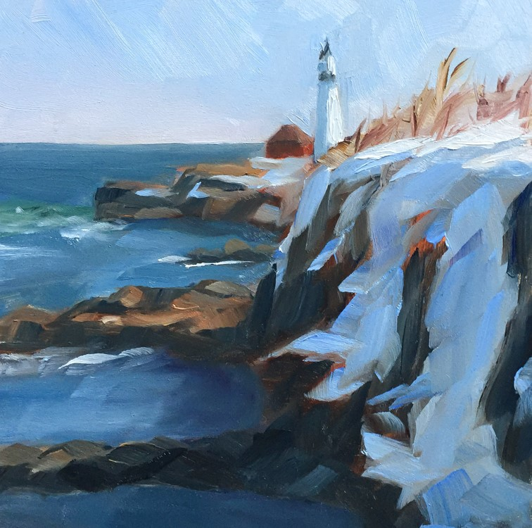"""#121 - Portland Headlight in Winter"" original fine art by Sara Gray"