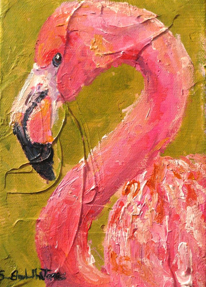 """Flamingo"" original fine art by Susan Elizabeth Jones"