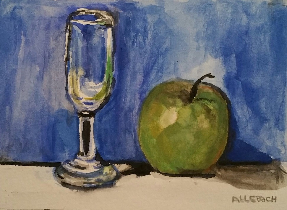 """Green Apple and Pony Glass"" original fine art by Jo Allebach"