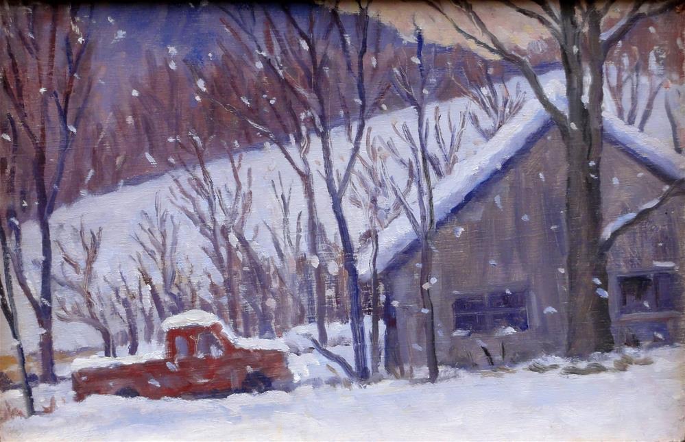 """snow truck, berkshires"" original fine art by Thor Wickstrom"