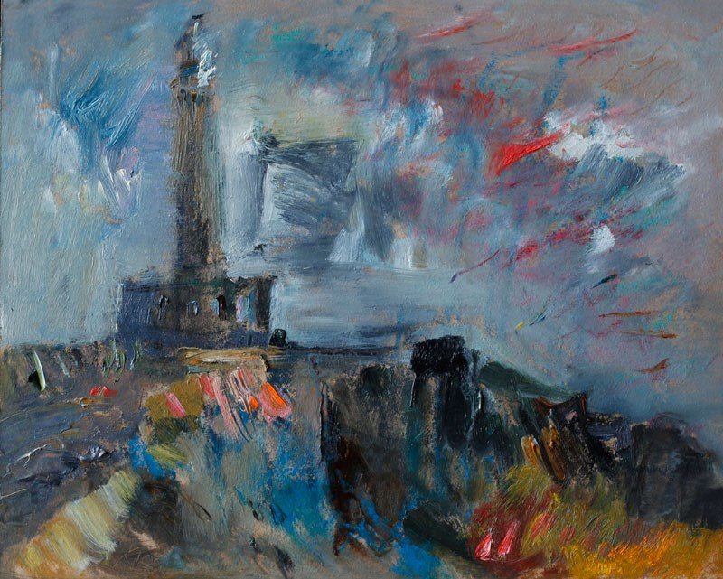 """Cabo de Palos Lighthouse in the Morning Mist"" original fine art by Anna Fine Art"