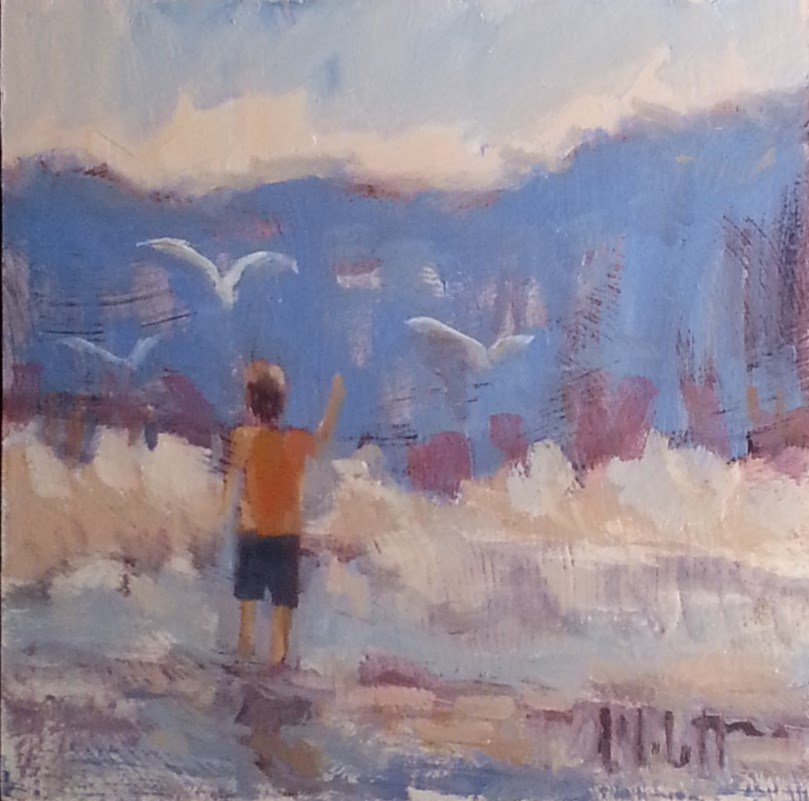 """Contemporary Impressionism Boy at the Seashore Original Art"" original fine art by Heidi Malott"