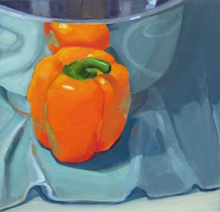 """Orange Pepper Reflected"" original fine art by Robin Rosenthal"