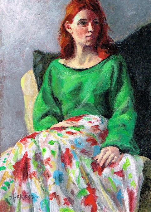 """Flowered Skirt"" original fine art by Theresa Taylor Bayer"