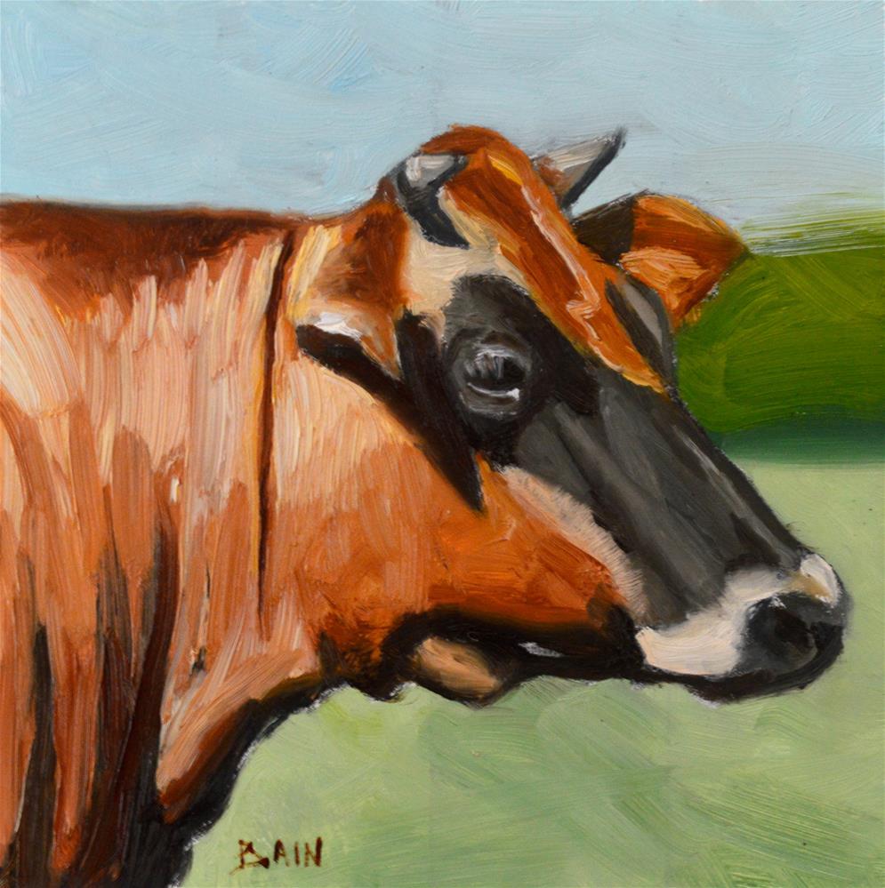 """""""Cow no. 2"""" original fine art by Peter Bain"""