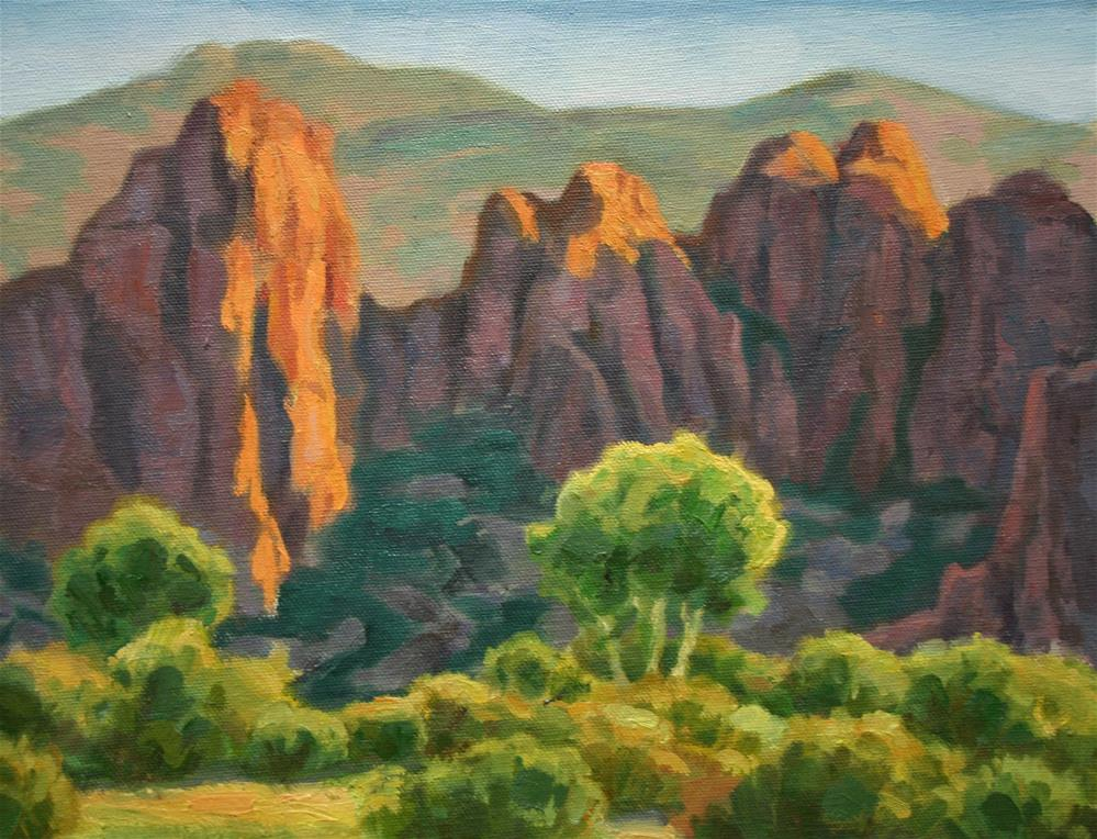 """Orange Bluff and Cottonwoods"" original fine art by K.R. McCain"