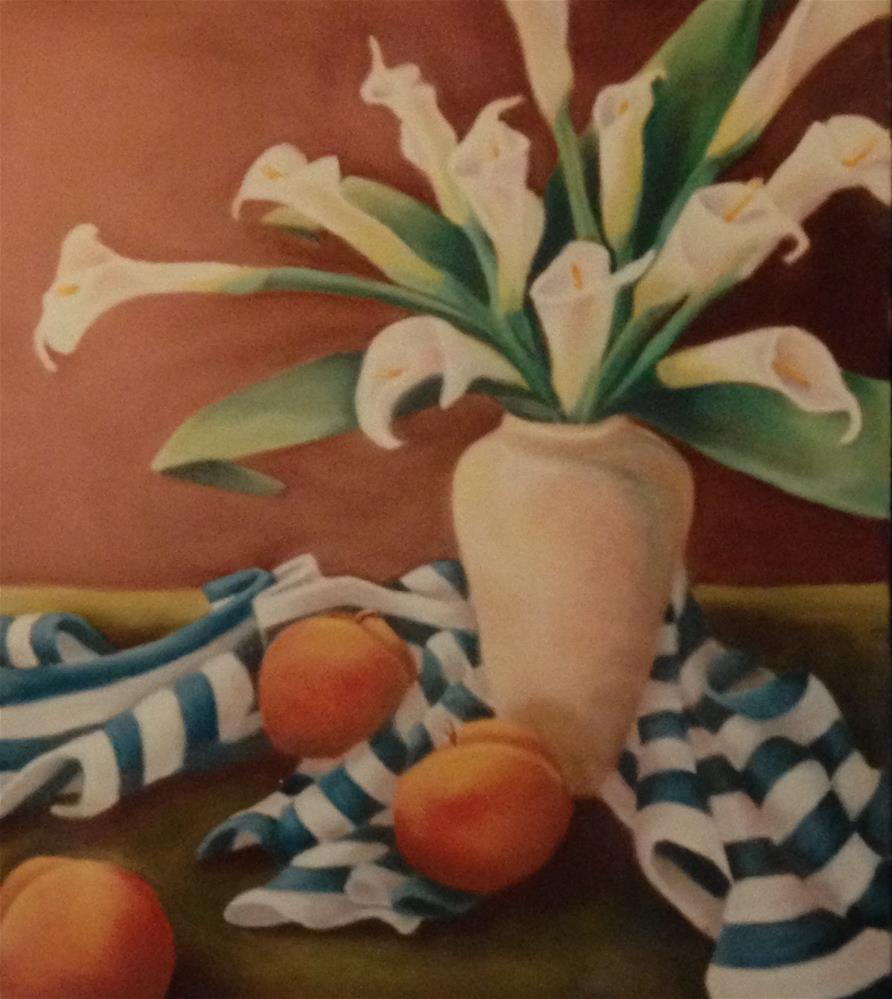 """Calla Lilies with Peaches"" original fine art by Karen Collins"