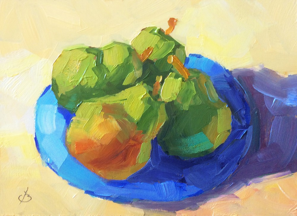 """""""TWO PAIRS OF PEARS"""" original fine art by Tom Brown"""