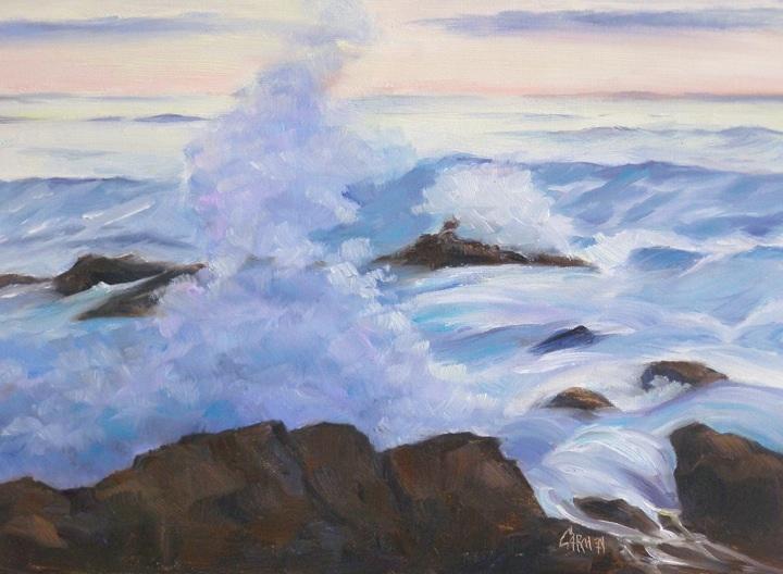 """""""Maine Wave, 8x10 Oil on Canvas Board"""" original fine art by Carmen Beecher"""