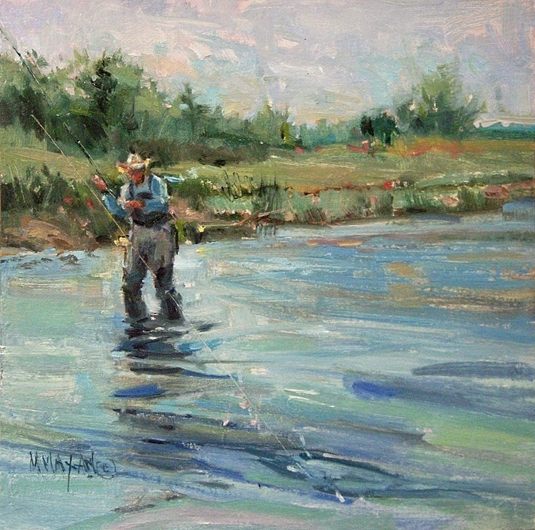"""""""Off The Range - fly fishers and cowboys"""" original fine art by Mary Maxam"""