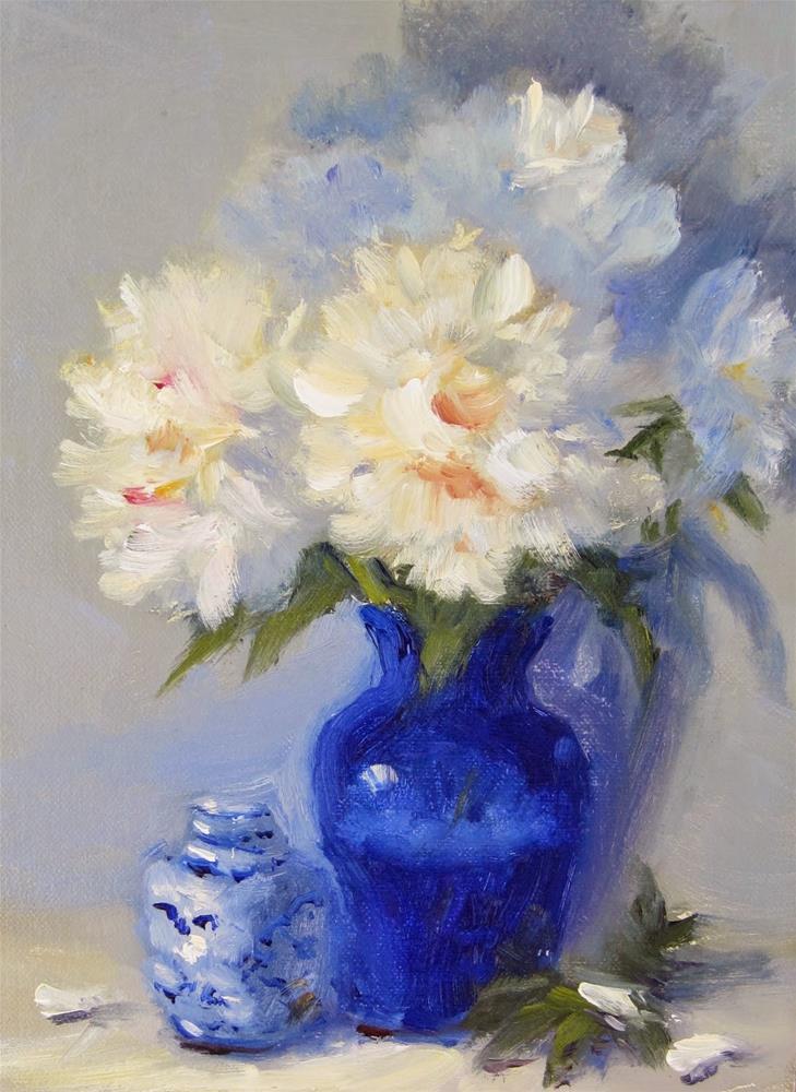 """Peonies and Blue"" original fine art by Pat Fiorello"