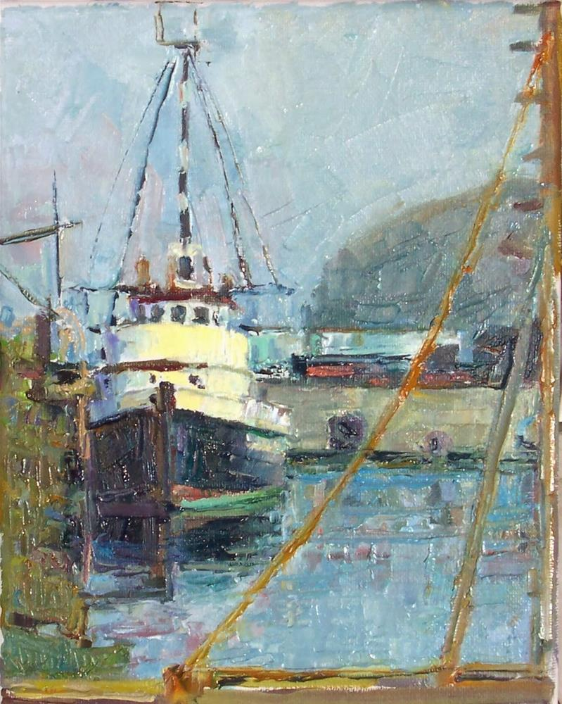 """Docked Fishing Boat,Seascape,oil on canvas,10x8,price$600"" original fine art by Joy Olney"