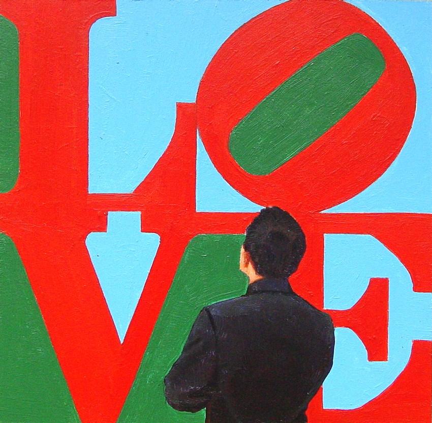 """Love- Painting Of Man Enjoying Painting Love By Robert Indiana"" original fine art by Gerard Boersma"
