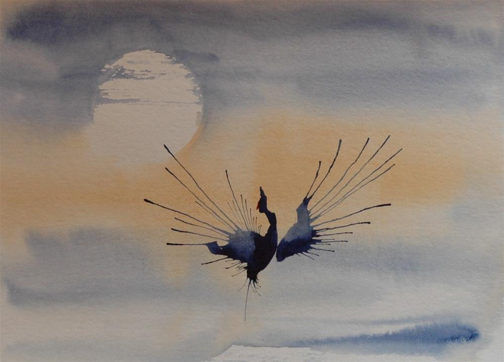 """Tanzender Kranich (Dancing Crane)"" original fine art by Ulrike Schmidt"