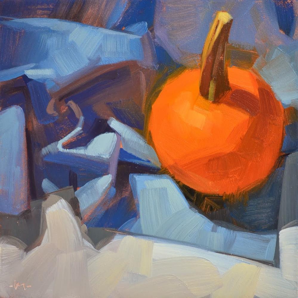 """Pumpkin on Blue"" original fine art by Carol Marine"
