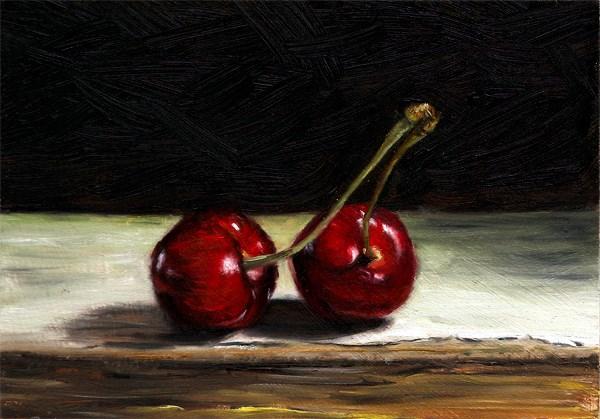 """Two Cherries"" original fine art by Peter J Sandford"
