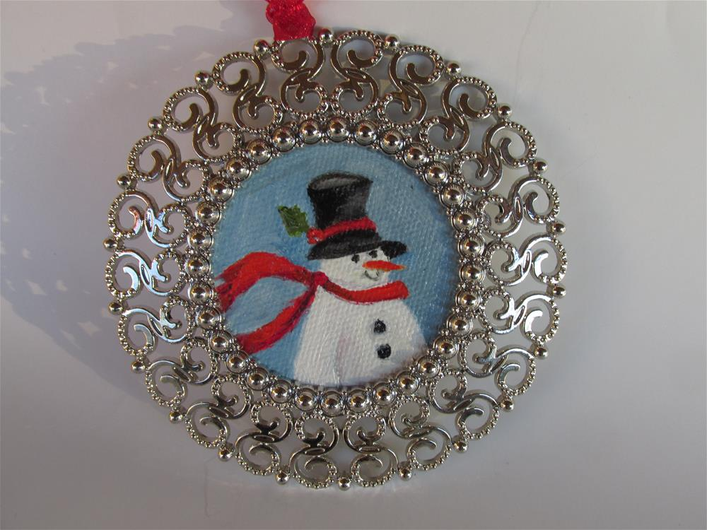 """Round Snowman Ornament"" original fine art by Ruth Stewart"