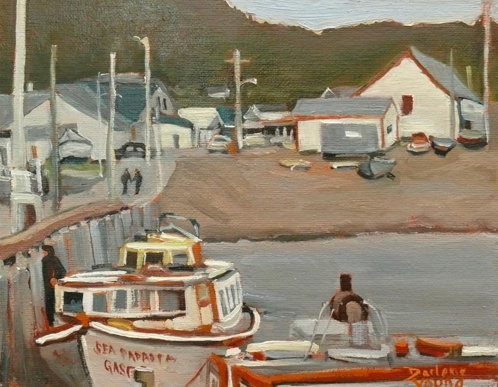 """1123, Gaspe Coast, Down by the Pier, 8x10, oil on board"" original fine art by Darlene Young"