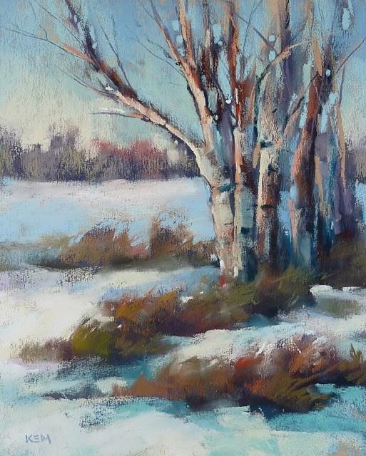 """Pastel Demo ...Winter Landscape with a Value Underpainting"" original fine art by Karen Margulis"