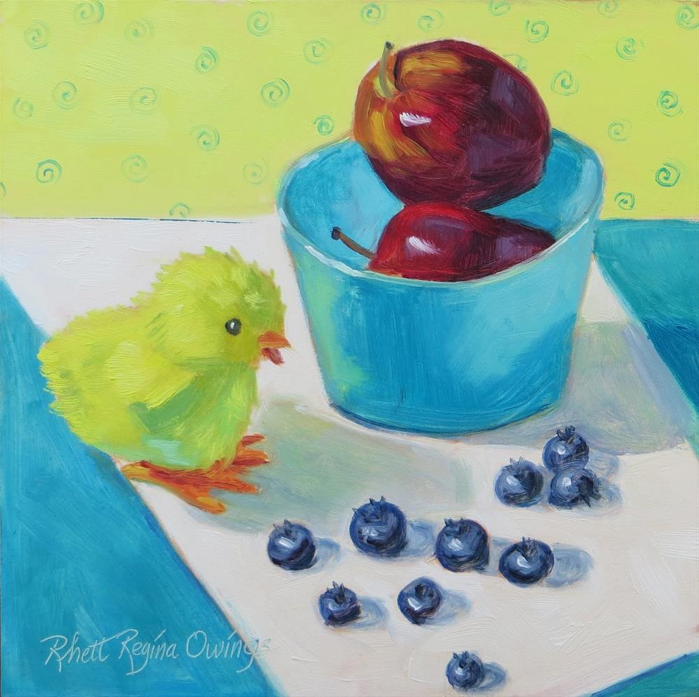 """Please Don't Eat the Blueberries"" original fine art by Rhett Regina Owings"