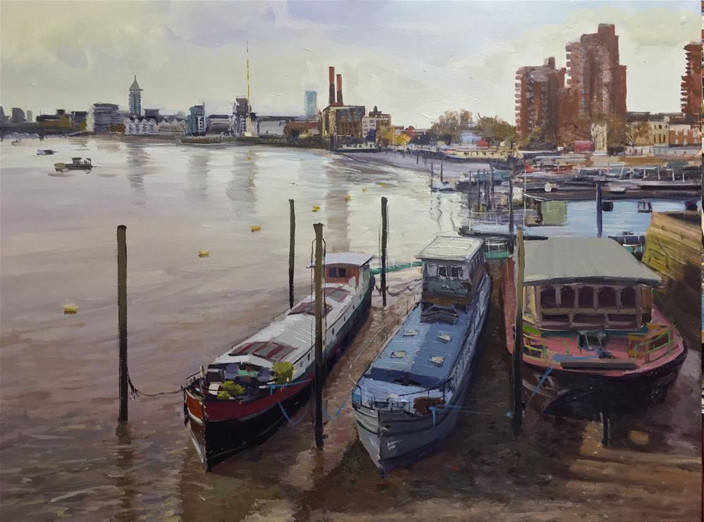 """Morning Light, The Chelsea Riverside"" original fine art by Adebanji Alade"