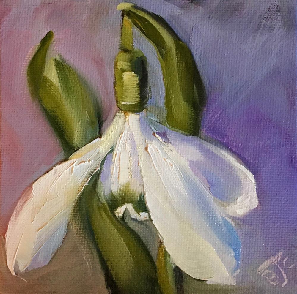 """""""Snowdrop"""" original fine art by Bobbie Cook"""