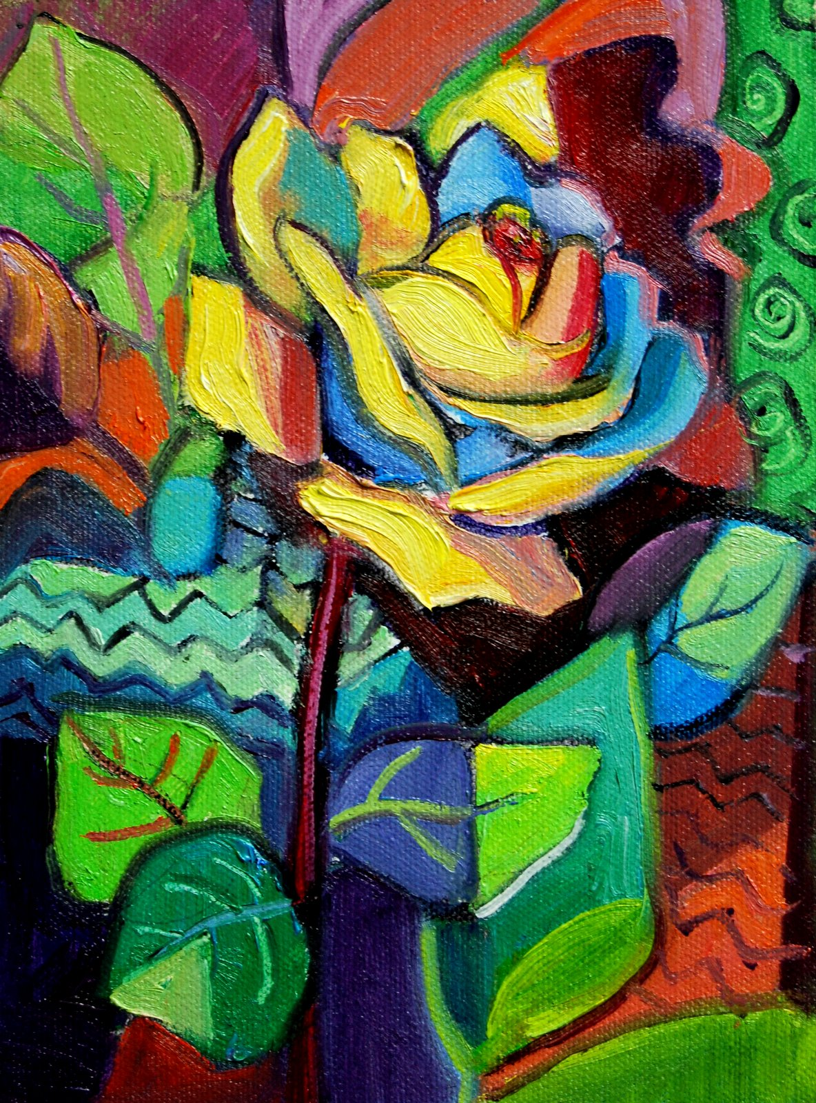 """""""Rose in the Style of Picasso"""" original fine art by Julie Ford Oliver"""