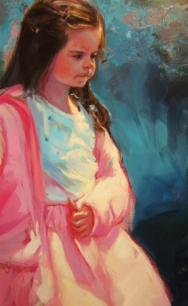 """Niña de rosa"" original fine art by Víctor Tristante"