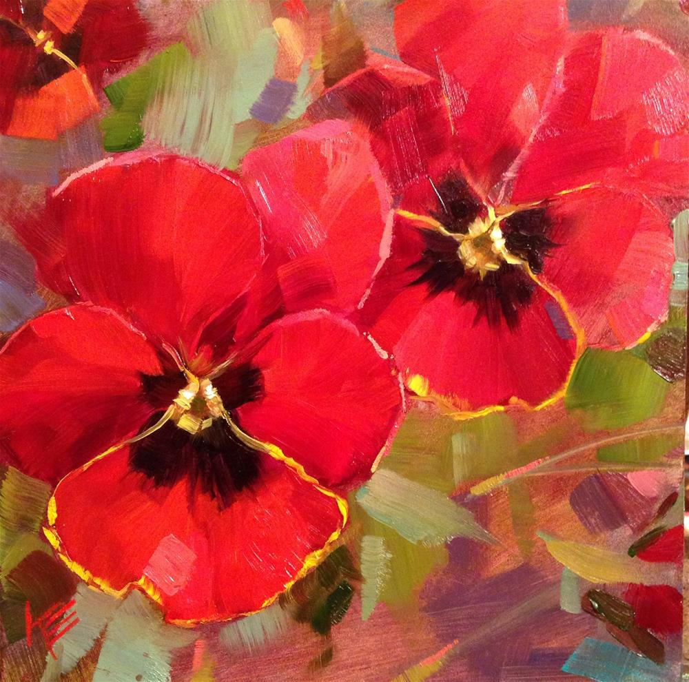"""Red Pansies"" original fine art by Krista Eaton"