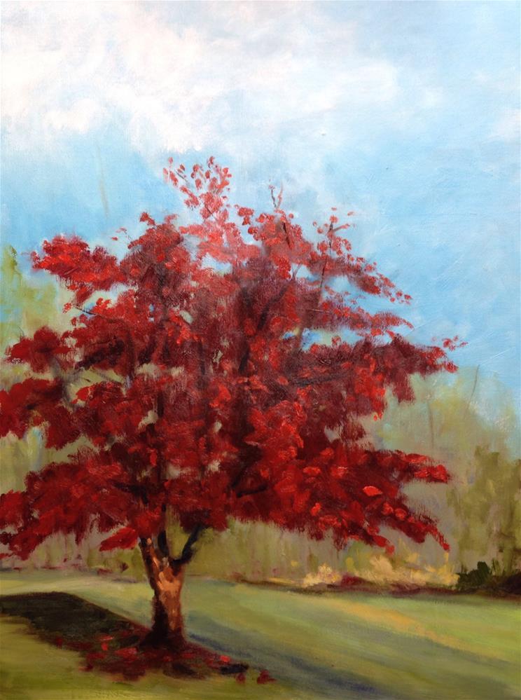 """Red Grove"" original fine art by Peggy Schumm"