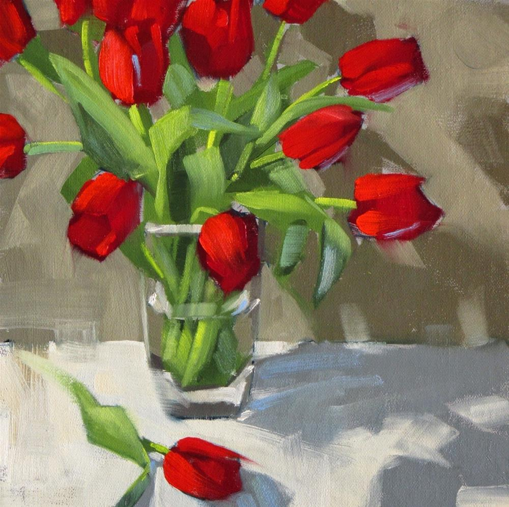 """""""Tulips, take two  8 x 8  oil"""" original fine art by Claudia Hammer"""