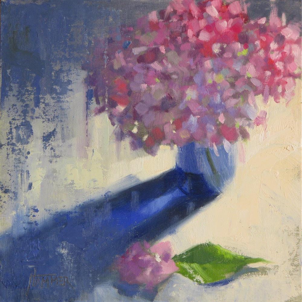 """Hydrangeas in Blue 8in x 8in oil"" original fine art by Claudia Hammer"