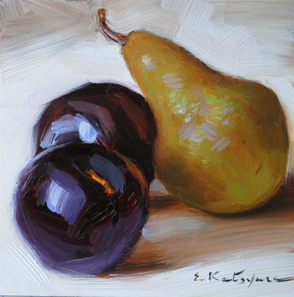 """Pear and Plums"" original fine art by Elena Katsyura"