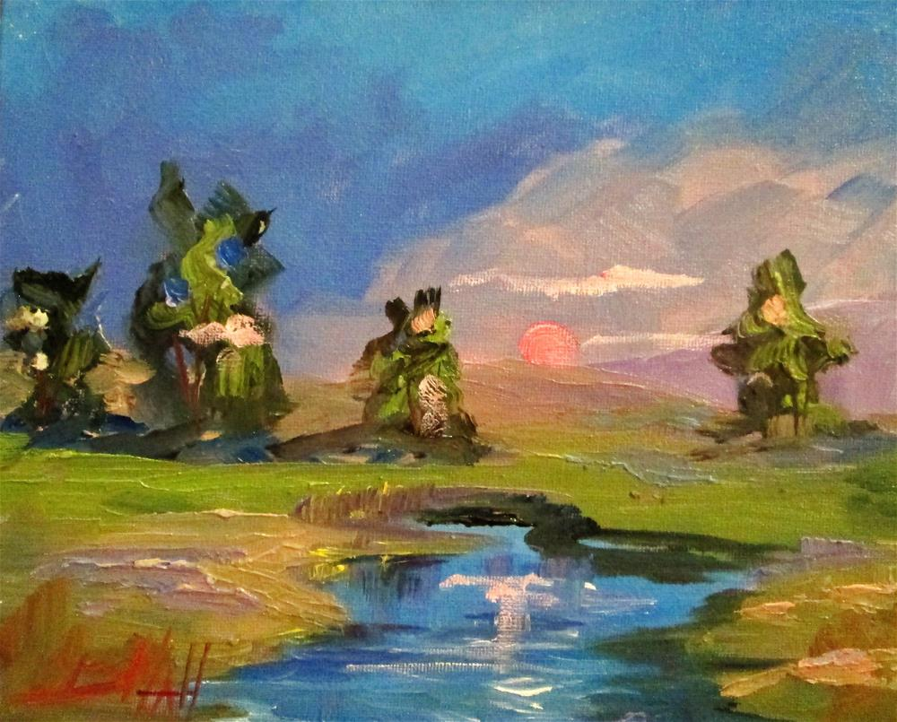 """Sunset Landscape"" original fine art by Delilah Smith"