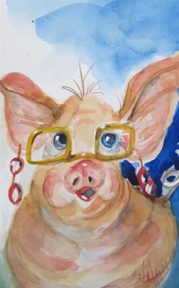 """High Fashion Pig"" original fine art by Delilah Smith"