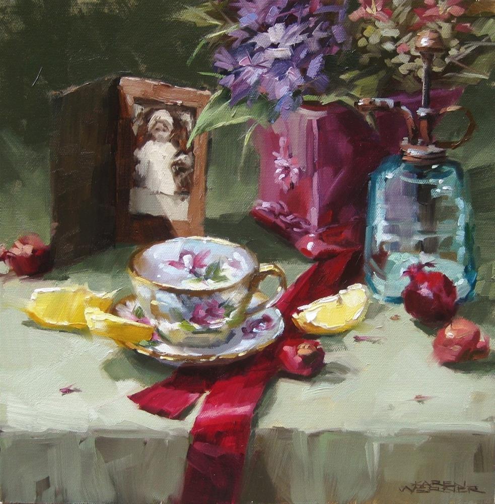 """""""Still Life With Crimson Ribbon"""" original fine art by Karen Werner"""