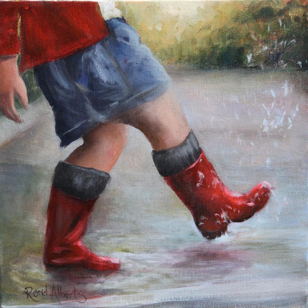 """""""A walk in the rain"""" original fine art by Ronel Alberts"""