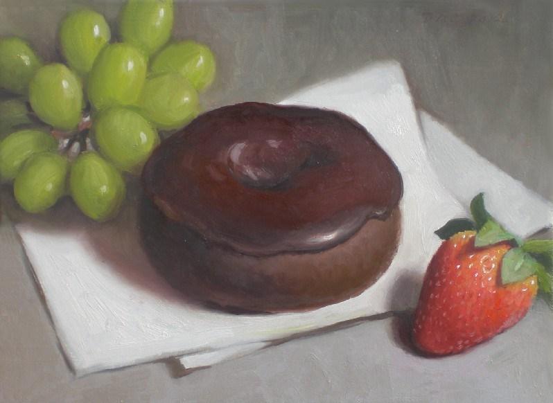 """Chocolate Doughnut and Strawberry"" original fine art by Debra Becks Cooper"