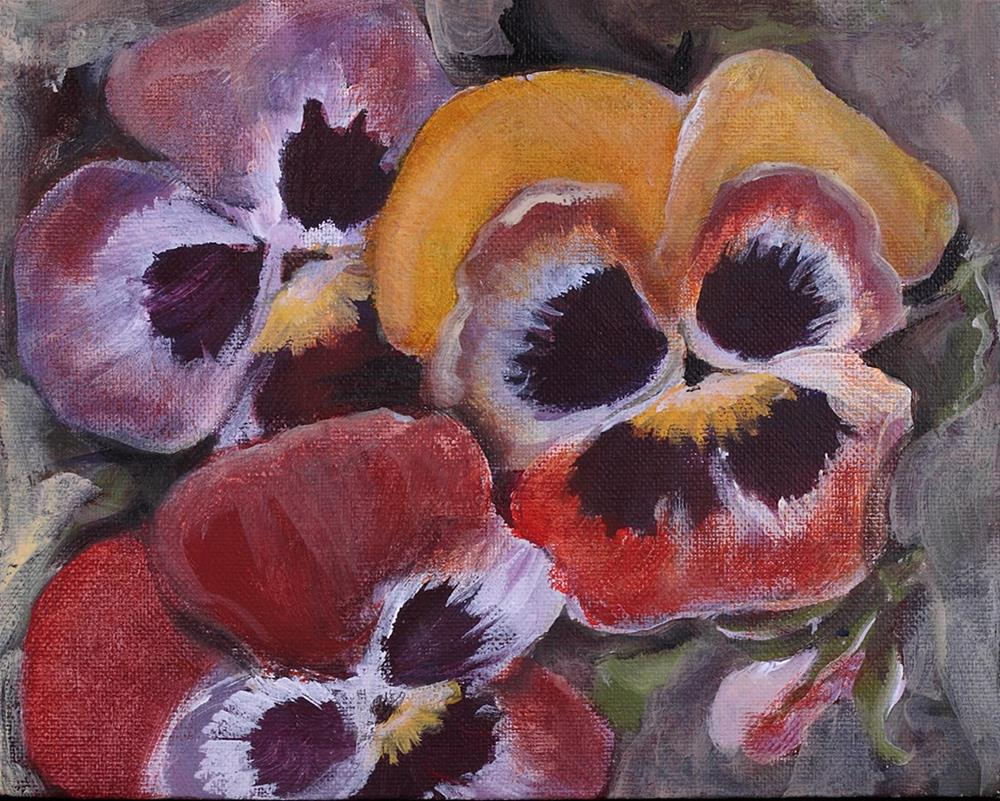"""Trick Or Treat Pansies"" original fine art by Cheryl Williams Dolan"