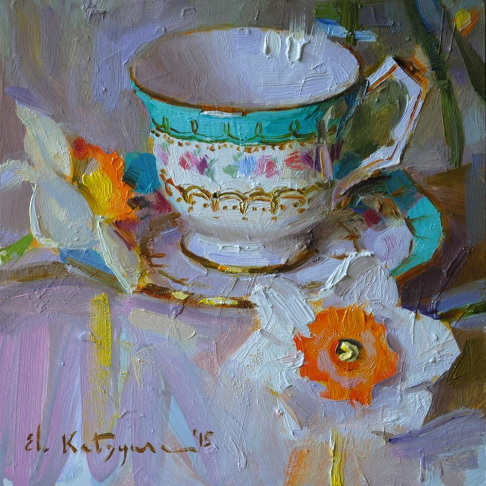 """Cup and Daffodils"" original fine art by Elena Katsyura"
