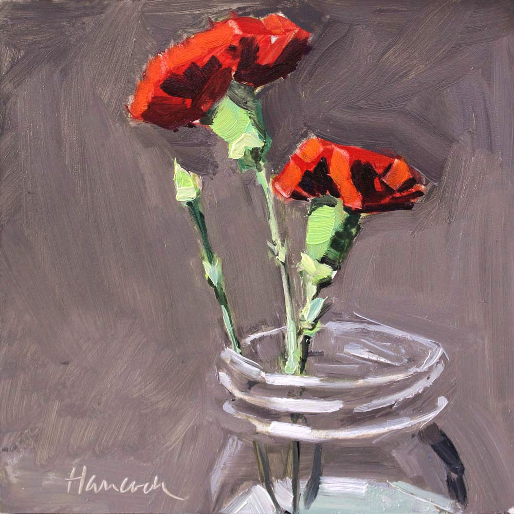 """""""Two Red Carnations"""" original fine art by Gretchen Hancock"""