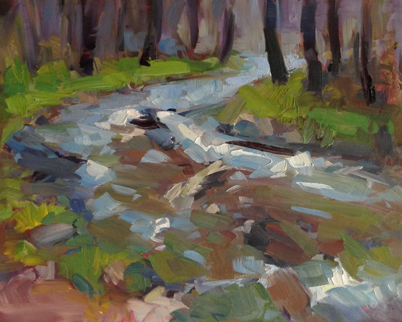 """""""Mosaic Stream in The Charcoal Forest"""" original fine art by Patti McNutt"""