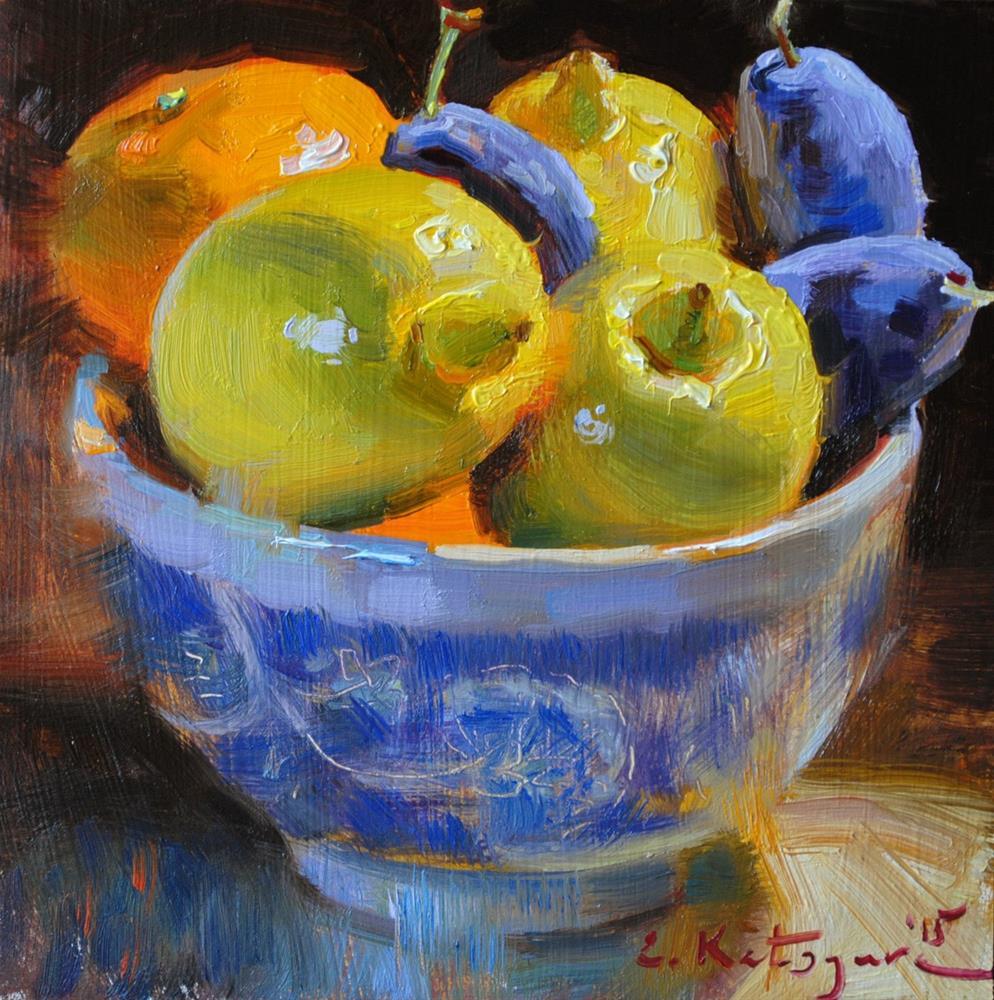 """Lemons, Plums and Mandarin"" original fine art by Elena Katsyura"