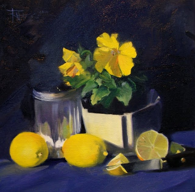 """Sweet and Sour yellow panseys with lemons and sugar jar"" original fine art by Robin Weiss"
