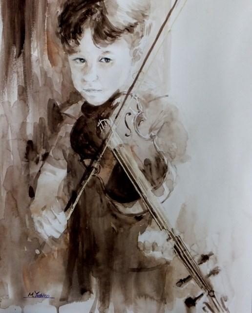 """""""Kubi with his violin"""" original fine art by Midori Yoshino"""