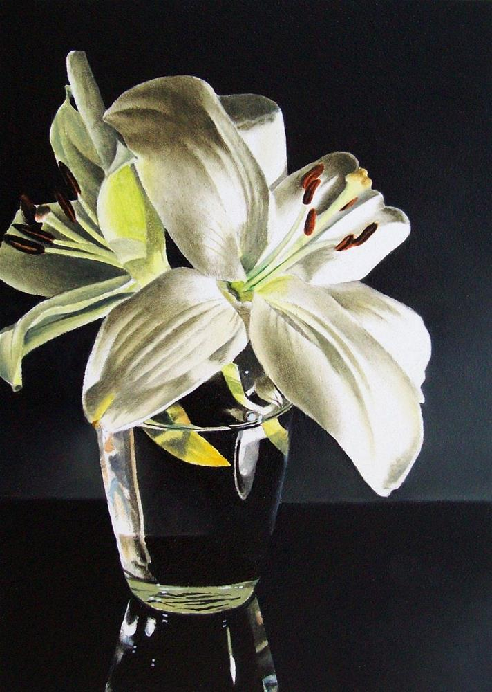 """Lilies in Glass Vase"" original fine art by Jacqueline Gnott, TWSA, WHS"