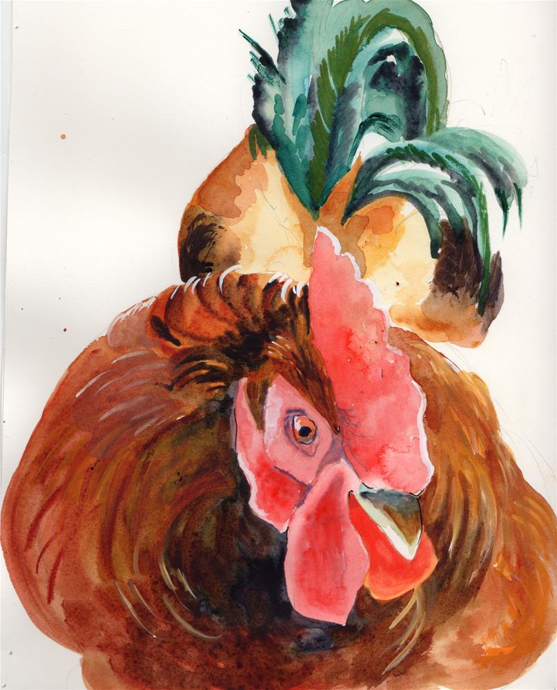 """Rooster"" original fine art by Bunny Griffeth"