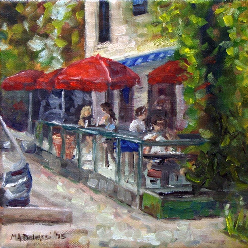"""Red umbrella's"" original fine art by Miranda Dalessi"